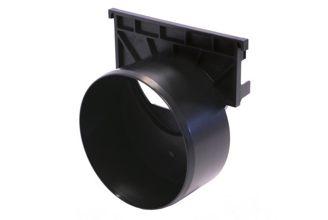 "ACO Hexaline/Drainline 100 Black End Plate w/ 4"" Outlet"